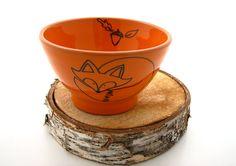 Fox Bowl Orange Great Wedding Gift for a woodland by LennyMud, $24.00