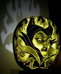 Disney Villain Maleficent from Sleeping Beauty carved pumpkin by Dan Szczepanski