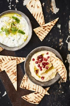 Homemade Hummus and Tzatziki servered with NOMU Cooks Collection Sumac and Flatbreads! Easy Flatbread Recipes, Tzatziki Recipes, Herb Salad, Homemade Hummus, Flourless Chocolate Cakes, Appetisers, Greek Recipes, Food Inspiration, A Food