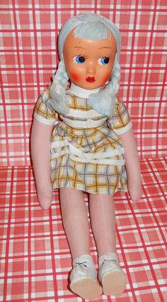 Vintage Cloth Doll Poland. $18.00, via Etsy.