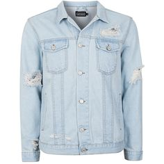 TOPMAN Antioch Western Denim Jacket (995 ZAR) ❤ liked on Polyvore featuring men's fashion, men's clothing, men's outerwear, men's jackets, blue, mens blue jacket, mens western jackets and mens blue jean jackets