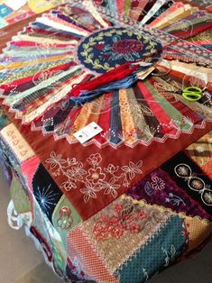 Work-In-Progress: Janice Vaine's Embroidery & Patchwork Revisited - Quilt Books & Beyond Crazy Quilt Stitches, Crazy Quilt Blocks, Quilt Block Patterns, Crazy Quilting, Quilting Ideas, Quilting Templates, Embroidery Stitches Tutorial, Embroidery Techniques, Embroidery Patterns