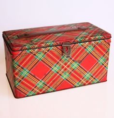 Vintage tartan tin box - the box is part of the gift! Tie with raffia and add a wooden tag.