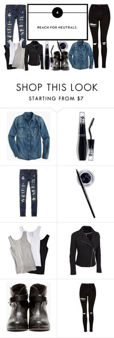 """""""..."""" by ma-nouvelle-vie-en-rose ❤ liked on Polyvore featuring J.Crew, Lancôme, Hollister Co., Maybelline, Muji, rag & bone, Topshop and plus size clothing"""