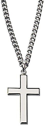 "Men's Rhodium Plated Silver Cross Necklace with 24"" Silver Chain in Leather-ette Gift Box -- Check this valentines gift ideas by going to the link at the image."