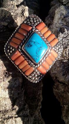 rood koraal, turkoois, 925 zilver ring, maat 13 mm