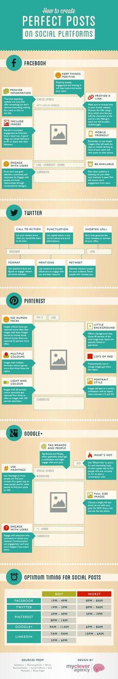Infografía que nos enseña a crear posts perfectos para redes sociales. #Infografía en inglés. Nombre original How to create the perfect posts on social pataforms
