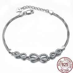 17cm Infinity Shape 925 Sterling Silver Bracelet Banlges Fine Jewelry For Women Zircon Charm Adjustable Fashion Brand Design     Tag a friend who would love this!     FREE Shipping Worldwide     Buy one here---> http://jewelry-steals.com/products/17cm-infinity-shape-925-sterling-silver-bracelet-banlges-fine-jewelry-for-women-zircon-charm-adjustable-fashion-brand-design/    #shoeswomen