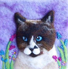 Custom Cat Portrait pet portrait blue point siamese by iwantcraft