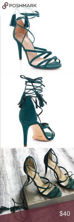 BCBGMAXAZRIA Emerald Lace Up Heels These are the beautiful Lenita style heels from BCBGMAXAZRIA. They are emerald green suede and lace up. I have worn them a couple times, still in great condition! There's a small spot on the back of left shoe where the suede has started to rub off (reference last pic) its not very noticeable. Comes with original box and dust bag  BCBGMaxAzria Shoes Heels