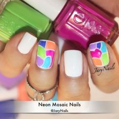 quick tutorial of neon mosaic nails by jarynails #fav <3