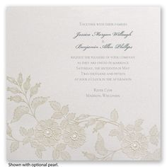 This invitation captures a royal look beautifully with a taupe embossed lace design. #FairyTaleWeddings #WeddingInvitations #DavidsBridal http://www.invitationsbydavidsbridal.com/Wedding-Invitations/Classic-Invitations/2947-DB3924-Lacy-Elegance--Invitation.pro?&sSource=Pinterest&kw=OnceUponATime_DB3924