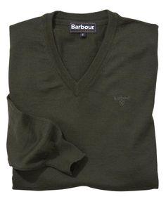 Mens Barbour Merino V Neck Sweater - Navy