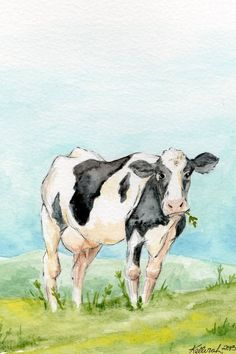 Original Watercolor Paintings | Original Cow Watercolor Painting Barnyard Art by KetturahsArt, $30.00