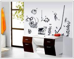 wall stickers decor - Undersea Treasure Hunt Fish Octopus Water Grass Black Wall Decal Sticker DIY Home Decor