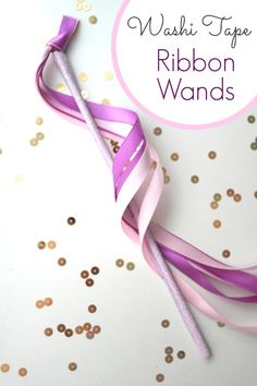 Use this easy washi tape ribbon wands DIY to make beautiful ribbons wands for princesses, fairies, party favors, dress up, and more.