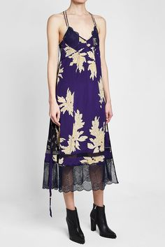 Zadig & Voltaire Roses Blossom Printed Silk Dress with Lace Purple Fashion, Zadig And Voltaire, Silk Dress, Cold Shoulder Dress, Printed Silk, Purple Style, Roses, Shopping, Clothing