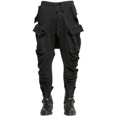 Unravel Men Multi Pockets Cotton Fleece Cargo Pants ($990) ❤ liked on Polyvore featuring men's fashion, men's clothing, black, men's apparel and mens clothing