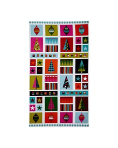 """Wrap It Up Abstract Christmas Icons 23 In. Panel Multi from @fabricdotcom  Designed by The Henley Studio for Makower/Andover, this modern christmas cotton panel measures 44"""" x 23"""" and is perfect for quilting and home decor accents. Colors include navy, magenta, red, green, pink, orange, teal and white."""