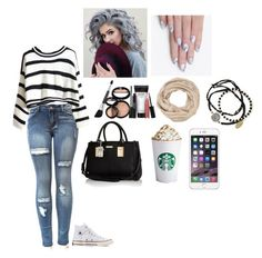 """""""Fall Look """" by sahar-i-my-name ❤ liked on Polyvore featuring Converse, River Island, maurices, Feather & Stone, alfa.K and Laura Geller"""