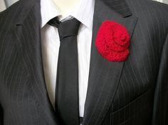 Knit Buttonhole Wedding Boutonniere knitted by thekittensmittensuk