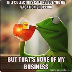 Bill collectors calling but you on vacation shopping - Kermit