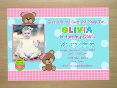 Custom Teddy Bear 1st Birthday Invitation  by SquigglesDesigns, $10.00
