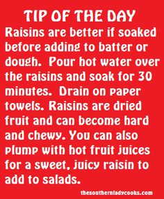 remember this next time I make oatmeal raisin cookies (or any recipe that uses dried cranberries as well).Gotta remember this next time I make oatmeal raisin cookies (or any recipe that uses dried cranberries as well). Hacks Cocina, Health Blog, Oatmeal Raisin Cookies, Baking Tips, Baking Hacks, Baking Secrets, Baking Basics, Kitchen Helper, Food Facts