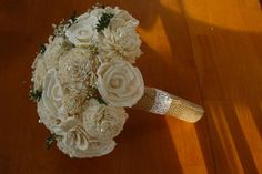 Wedding Bouquet Sola Bouquet Cream Sola wood by TheBloomingCorner