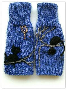 Mitaines laine brodées  'Nuit'   * sur commande* Bonnets, Pulls, Creations, Gloves, Winter, Fashion, Fingerless Gloves, Night, Embroidery