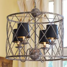 DR light fixture - with white paper shades instead of black - add'l purchase    Harlequin Cage Lantern - SOL  $529