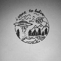 Missing E #tattoodesign #alien #UFO #IWantToBelieve