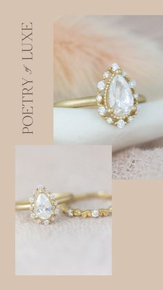 Boho Engagement Ring - Beautiful halo ring with delicate halo- Poetry of Luxe Jewelry Delicate Engagement Ring, Vintage Inspired Engagement Rings, Engagement Ring Styles, Pear Shaped Diamond, Halo Diamond, Paris Wedding, Dream Wedding, Wedding Proposals, Wedding Inspiration