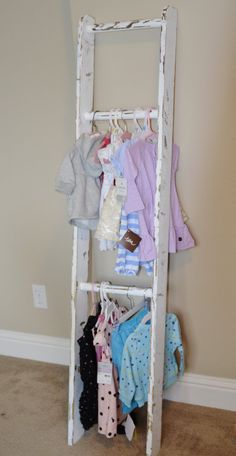 Great idea for a closet for America girl outfits.  Ladder Children's Clothes Storage by KnotsandBiscuits on Etsy, $75.00