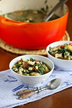 Healthy & so tasty!  Chicken, Artichoke & Spinach Soup Recipe | cookincanuck.com #soup #chicken