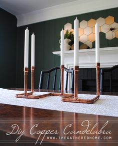 ~50$ for supplies, for fireplace / DIY Copper Pipe Candelabra