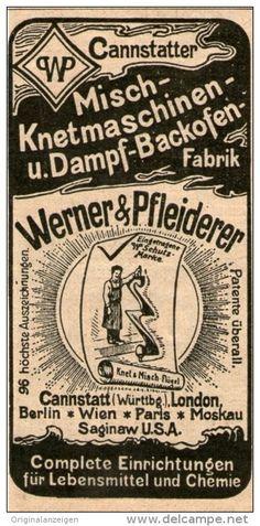 Original-Werbung/Inserat/ Anzeige 1904 : CANNSTATTER MISCH-KNETMASCHINEN FABRIK / WERNER & PFLEIDERER ca. 45 x 90 mm