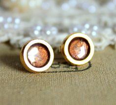Pure gold stud earring -petit elegant 14k gold coated post earrings .. $19.00, via Etsy.