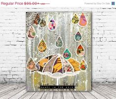 ON SALE 20% OFF Dance In the Rain - stretched canvas print, mixed media collage art, gray and yellow umbrella print, canvas art, colorful, s