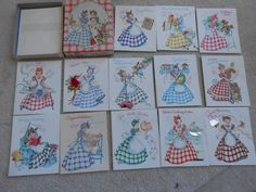 VINTAGE PRETTY GINGHAM GIRLS GREETING CARDS IN BOX a Doehla fine arts card USA