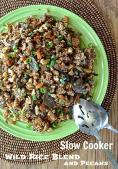 Slow Cooker Wild Rice Blend Recipe with Pecans is simple to make in the crock pot.  Grains, nuts and veggies are all combined for a special side di… | Pinterest