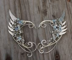 Angel wings. Elven ears (a pair). Earcuffs, Elf ears, fantasy decoration for ears. by RomanticElfJewelry on Etsy
