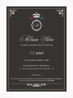 Convite Digital 15 anos 08 Tema Baile de Máscaras, elegante, clássico.
