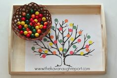 Wooden Bead Fall Tree Color Matching, and other Montessori inspired tot school trays from The Kavanaugh Report!