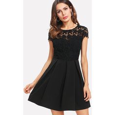 Lace Bodice Tie Back Pleated Dress (£16) ❤ liked on Polyvore featuring dresses, black, summer dresses, short sleeve cocktail dresses, floral cocktail dresses, floral summer dresses and cap sleeve cocktail dress