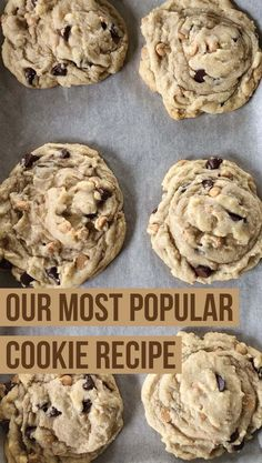 Best Cookie Recipe Ever, Popular Cookie Recipe, Best Cookie Recipes, Sweet Recipes, Baking Recipes, Home Made Cookies Recipe, Favorite Cookie Recipe, Keto Recipes, Peanut Butter Chip Cookies