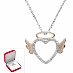 I got this one for first Mother's Day with Angel in Heaven - 18k Rose Gold Over Silver & Sterling Silver Diamond Accent Angel Heart Pendant