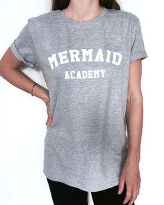 Mermaid academy Tshirt gray Fashion funny slogan by Nallashop