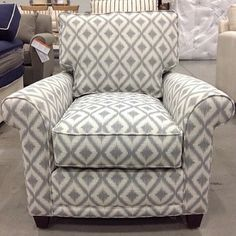 Charmant Franklin Chair In Special Order Gray Geometric Pattern