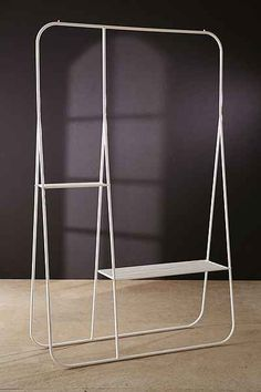 closet hanger Calvin Double Clothing Rack - Urban Outfitters How To Choose Laminate Flooring For You Storage Rack, Storage Shelves, Wall Shelves, Shelving, Extra Storage, Shelf, Urban Outfitters Bedroom, Urban Outfitters Clothes, Closet Hangers